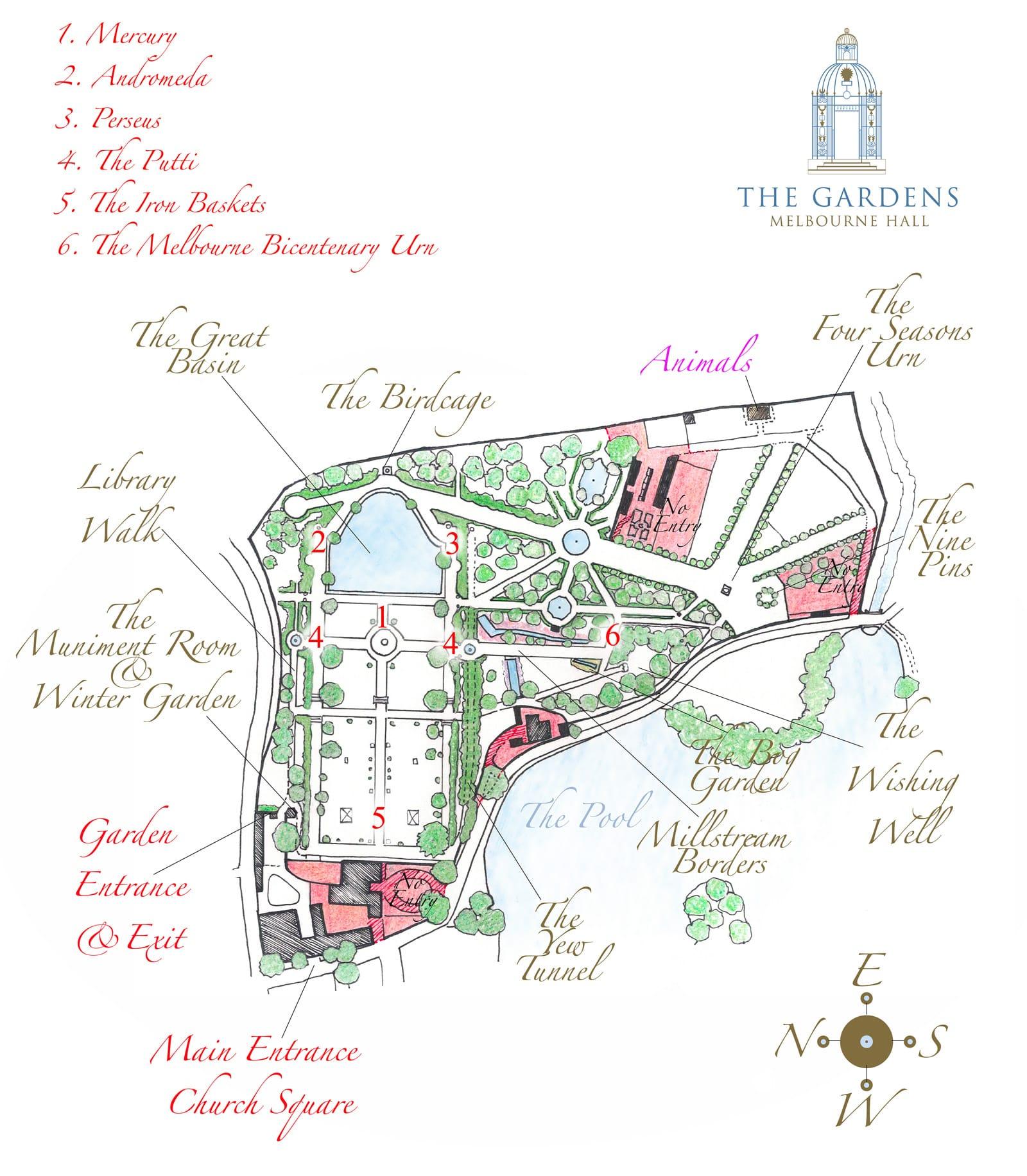 Melbourne Hall Gardens map